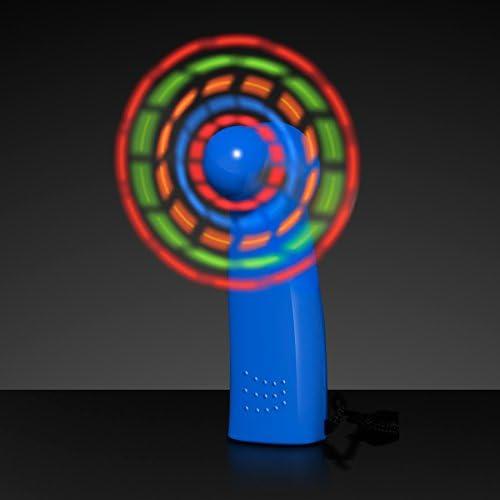 Light Up LED Mini Handheld Fans with Blue Handles Set of 12 product image