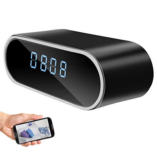 Hidden Camera Clock,HD 1080P WiFi Alarm Clock Camera with Night Vision/Motion Detection/Loop Recording Wireless Security Camera,Monitor Video Recorder Nanny Cam