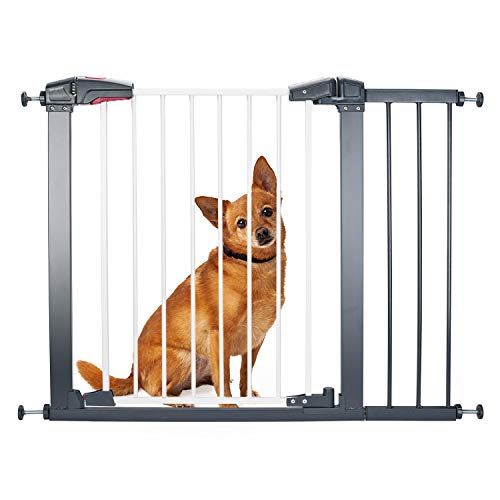 "Delxo Sturdy Safe Baby Gate with 4 Pressured Adjustment Bolts for Stairs/Doorways, 29"" to 34"" Wide 32'' Height, Single-Hand Easy Walk-Through No Tools Required Install for Baby/Dogs/Cats"
