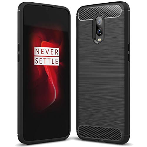 Sucnakp OnePlus 6T case, TPU Shock Absorption Technology Raised Bezels Protective Case Cover for OnePlus 6T Smartphone (Black)