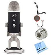 Blue Microphones Yeti Pro USB Condenser Microphone, Suspension Boom Scissor Arm Stand + Universal Pop Filter Microphone Wind Screen + Mic Stand Adapter + Microfiber Cloth and More