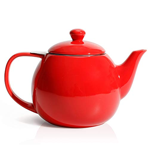 Sweese 221.104 Teapot, Porcelain Tea Pot with Stainless Steel Infuser, Blooming & Loose Leaf Teapot - 27 ounce, Red