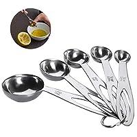 cucchiai dosatori misurini in acciaio inox measuring spoons preciso cucina misurini cucchiai dosatore set, con righchi e liquidello di misura perfetti per cottura e cottura (5 pezzi)