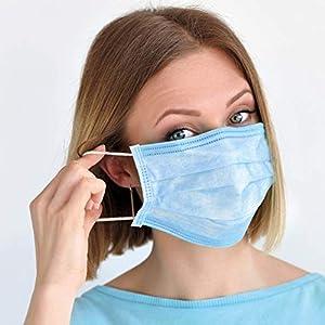 immagine di In pronta consegna Mascherina chirurgica monouso 3 strati antipolvere tessuto non tessuto (TNT) scatola da 50 pezzi