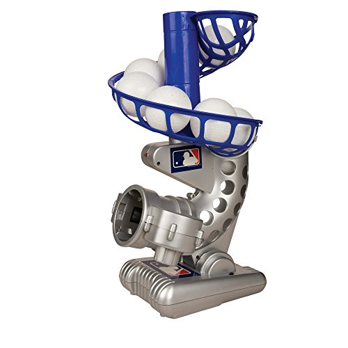 Franklin Sports MLB Electronic Baseball Pitching Machine – Height Adjustable – Ball Pitches Every 7 Seconds – Includes 6 Plastic Baseballs, Silver/Blue (6696S3)