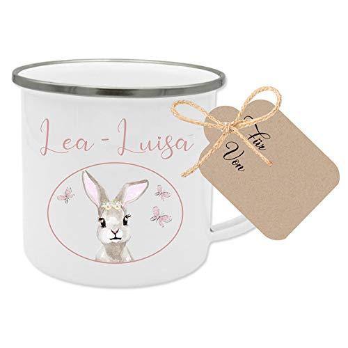 Manufaktur Liebevoll Tasse mit Namen und Motiv Hase I Besonderes Geschenk für Mädchen I Geschenkidee für Kinder, zum Geburtstag, zu Weihnachten uvm. I mit Geschenkanhänger