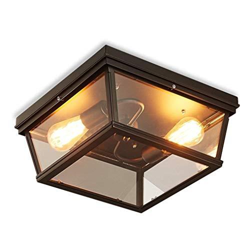 Luce Plafoniera Lámpara de techo de estilo retro industrial Cuadrado de vidrio transparente Luz de techo de metal Diseño nostálgico simple Iluminación de techo Dormitorio (negro) E27