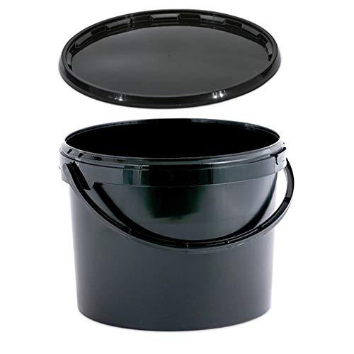 OIPPS 11 Liter Eimer Schwarzer Kunststoff mit Deckel