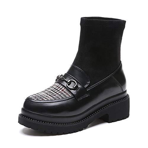 Shukun enkellaarsjes platte onderkant damesschoenen dunne korte laarzen sokken platte bodem mode dik met winter