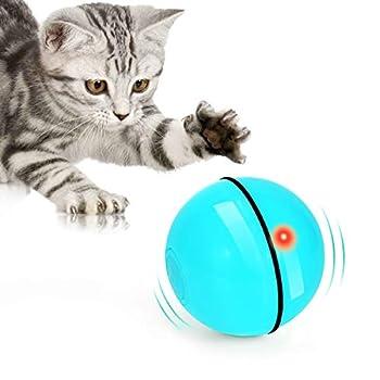 Jouet pour Chat, Balle de Jouets avec lumière LED, Rotation Automatique à 360 Degrés et Chargement USB Jouet Interactif pour Chat, pour Animaux Chien Chatons (Bleu)