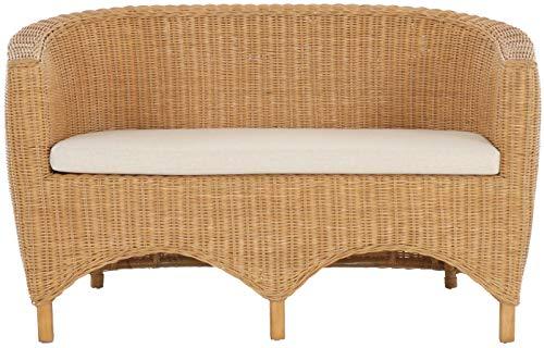 korb.outlet Rattan-Sofa 2-Sitzer Club inkl. Sitzpolster Beige, Couch aus echtem Rattan (Honig - Dunkel) - 2