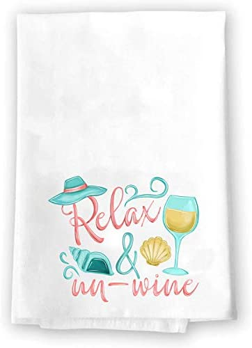 Decorative Kitchen and Bath Hand Towels Relax and Un wine Beach Theme Glass Seashell Ocean White product image