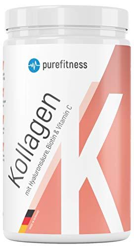 PREMIUM KOLLAGEN Komplex mit HYALURON Biotin Vitamin C I Für Haut, Haar & Knochen I 450g Collagen Pulver I Hydrolysat Typ I & III geschmacksneutral
