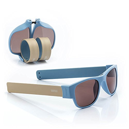 Sunfold Accent Gafas de Sol Enrollables, Hombre, Azul y Gris, Talla Única