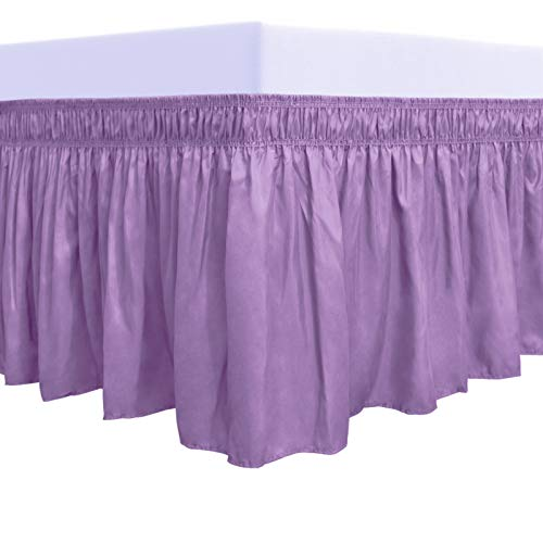 PureFit Wrap Around Ruffled Bed Skirt with Adjustable Elastic Belt - 14 Inch Drop Easy to Put On, Wrinkle Free Bedskirt Dust Ruffles, Bed Frame Cover for Twin, Twin XL and Full Size Beds, Lavender