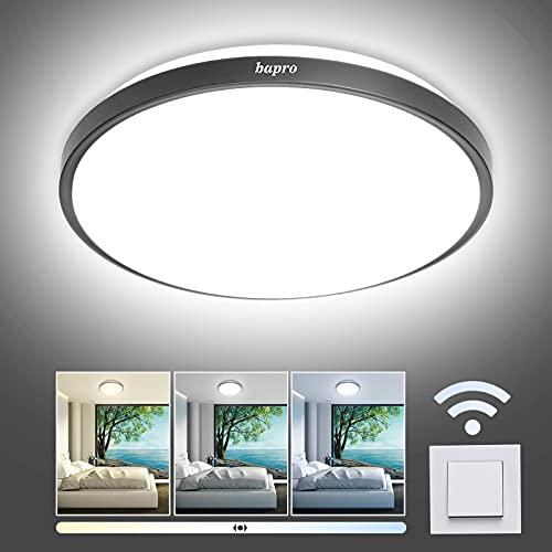 bapro18W Plafoniera LED Soffitto Dimmerabile,IP54 Impermeabile Plafoniera Bagno, 3000K-4000K-6500K Rotonda Plafoniera LED lampada, Per Camera Da Letto/Corridoio/Cucina illuminazione