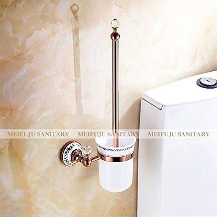 QiXian Creativo Cepillo de Inodoro Estilo Europeo Conjunto de Cepillo de Inodoro de Plástico de Acero Inoxidable Hogar Aseo Cepillo de Limpieza con Asiento Cepillo de Inodoro Fuerte Robusto Suministros de limpieza y saneamiento Accesorios de inodoro