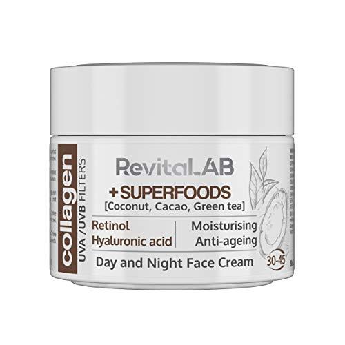 RevitaLAB - Crema hidratante antiarrugas de día y de noche con colágeno enriquecida con ácido hialurónico, superalimentos, vitaminas y un filtro UVA UVB, franja de edad 30-45, 50 ml