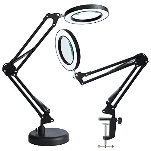 2-in-1 LED Magnifier Desk Lamp with Clamp ,Magnifying Glass with Light and Stand,3 Color Modes Stepless Dimming, for Home Office Close Work, Repair, Crafts, Reading,Sewing