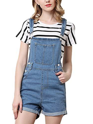 HX fashion Korte Spijkerbroek Dames Jeans Tuinbroek Comfortabele Maten In Gebruikte Look Hotpans Met Overall Jeans Shorts Zomerbroek Dames Playsuit (Color : Blau, Size : L)