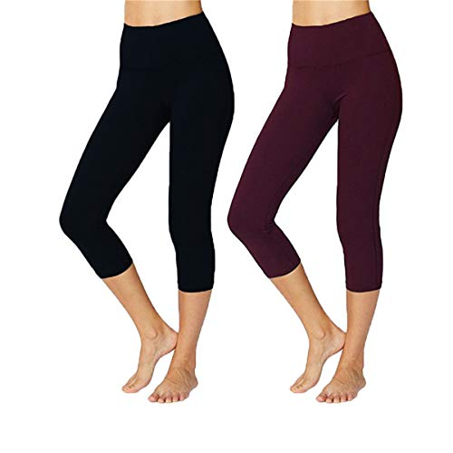 we fleece High Waist Ultra Soft Athletic Sport Women's Leggings - Tummy Workout 2 Pack of Capri Yoga Pants