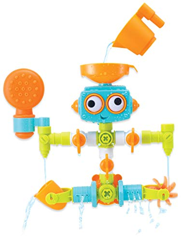 Infantino - Sensory Plug & Play Plumber Set - 16 Piece Bath Robot Toy for Sensory Exploration and Learning Cause and Effect