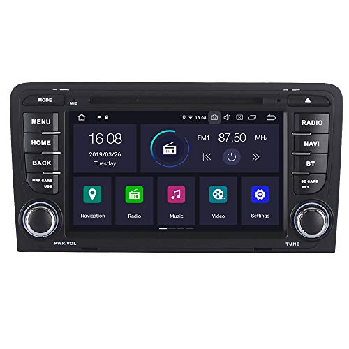 RoverOne Android 7.1 Système Pour AUDI A3 S3 RS3 2003-2013 Lecteur DVD de voiture avec Autoradio Stéréo GPS Navigation Bluetooth Radio HDMI MiroirLink Quad Core Système Multimédia
