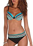 GOSOPIN Bikini Set Damen Bademode Push Up Zweiteilige Badeanzug Strandkleidung Bikinioberteil Bikinihose, Himmelblau, XXL