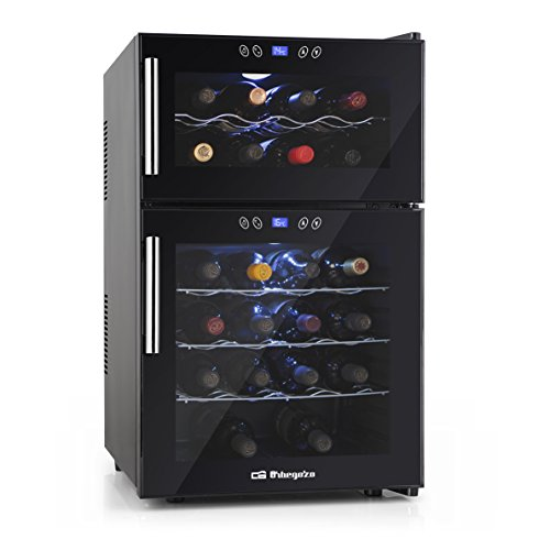 Orbegozo VT 2410 – Vinoteca 24 botellas, 52 litros de capacidad, temperatura regulable, panel táctl, display digital, luz LED, dual-zone, 130 W
