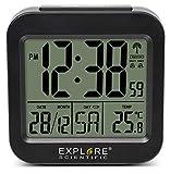 EXPLORE SCIENTIFIC RDC1008 Orologio Radiocontrollato da Viaggio, Temperatura Interna, Doppio Allarme, Calendario, Display Settimanale, Nero
