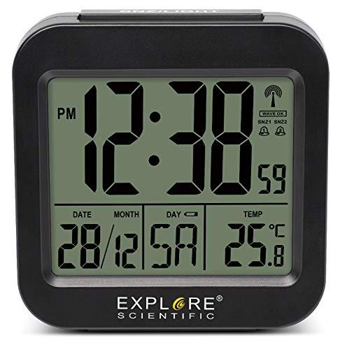 EXPLORE SCIENTIFIC RDC1008 Orologio Radiocontrollato da Viaggio, Temperatura Interna, Doppio Allarme, Calendario,...