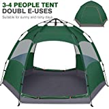 Victostar Instant Pop Up Family Camping Tent,Double Layer Waterproof 4 Season for Picnic Fishing Hiking Traveling (Army Green)