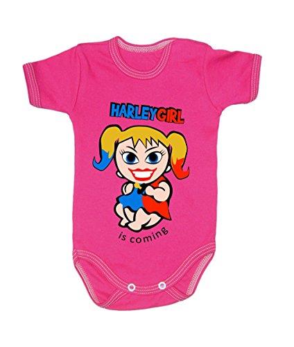 Colour Fashion Baby Harley Quinn Body à manches courtes 100% coton 0-24 mois 0007 (0-3 mois, 62 cm, rose)
