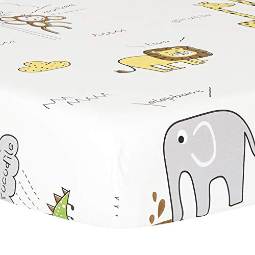 TILLYOU Ultra Soft Animals Crib Sheets Fitted, 100% Egyptian Cotton Toddler Sheets for Baby Boys Girls, Elephant Lions Giraffe Prints, Breathable Hypoallergenic Comfy, 28'x 52', Animals Party (White)