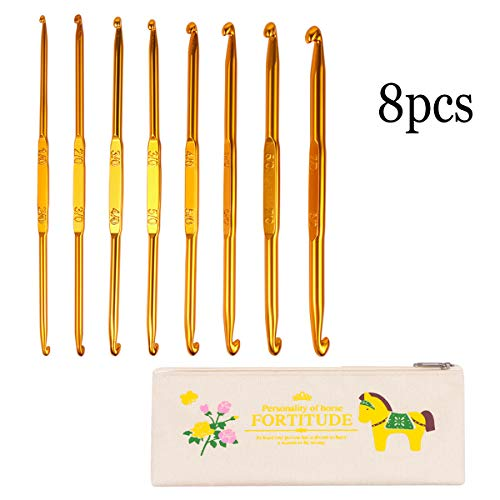 Crochet Hooks Set with Storage Case, BENBO 8PCS Double Ended Crochet Hooks Golden Aluminum Sweater Yarn Knitting Needles Weave Craft Tool Kit for DIY Sewing, 1-8mm