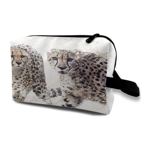 Neceser Colgante de Viaje,Pintura Digital de Retrato de Dos guepardos,Organizador de Maquillaje cosmético Bolsa de higiene y Organizador de Ducha
