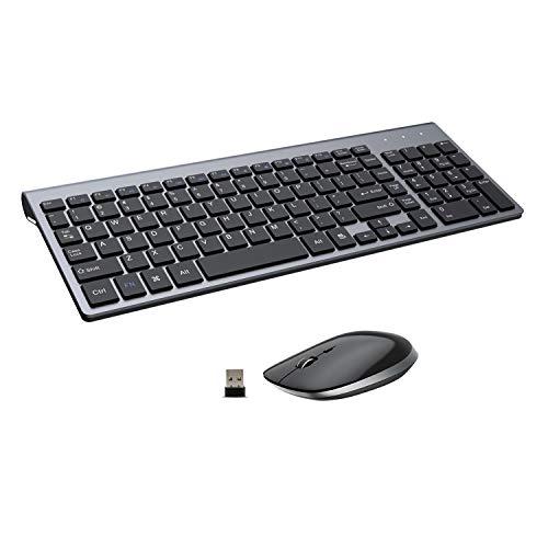 Wireless Keyboard and Mouse - 2.4G USB Ergonomic Full Size Compact Wireless Keyboard Mouse Combo for PC Computer Laptop Windows mac MacBook - Black Grey