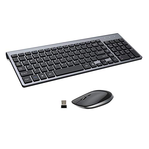 Wireless Keyboard and Mouse - 2.4G USB Ergonomic Full Size Compact Wireless Keyboard Mouse Combo for PC Computer Laptop Windows mac MacBook - Black Grey