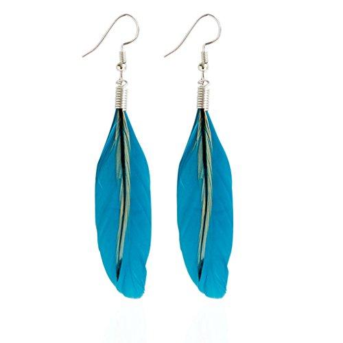Babysbreath Boucles d'oreilles Multicolores en Plumes Noires et pendentifs Bohemia Folk Style Boucles d'oreilles en Argent Bleu