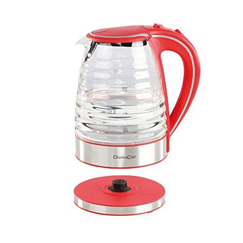 Kabelloser Wasserkocher Glas Edelstahl Blaue Beleuchtung Wasserstandsanzeige (1,7 Liter, Starke 1350 Watt, Kontrollleuchte, Antikalk-Filter, Rot)