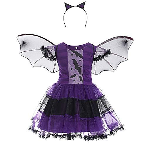 Aiqing Disfraz de Bruja Vampiro para niñas pequeñas, Vestido tutú de Reina Malvada con Cuernos, Diadema, Sombrero para Cosplay de Halloween
