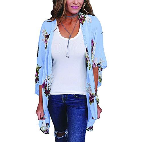 YYH Cardigan Chiffon Losjaal voor dames, chiffon, bloemenprint, kimono-verflakking, boho, zomer, casual blouse, strandbadkleding Large blauw