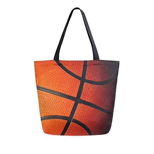 Close Up - Bolso de lona con estampado de baloncesto para mujer, con asa superior, bolsos grandes, reutilizables, bolsas de hombro de algodón, para viajes, trabajo, compras, comestibles
