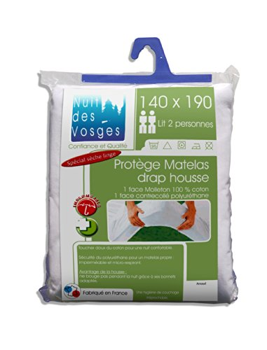 Nuit des Vosges Arnaud Alèse, Molleton 100% Coton Contrecollé Polyuréthane (Imperméable), Blanc, 140 x 190 cm