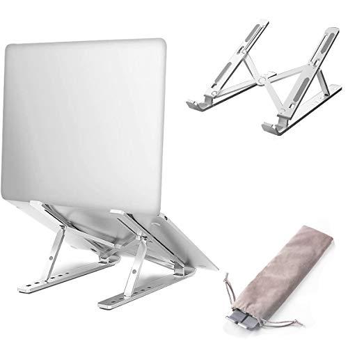 """Nat-Hom LaptopStand,Adjustable Portable Laptop Holder for Desk, Aluminum Laptop Riser with 6 Levels Height Adjustment,10-15.6"""" Laptops - Silver"""