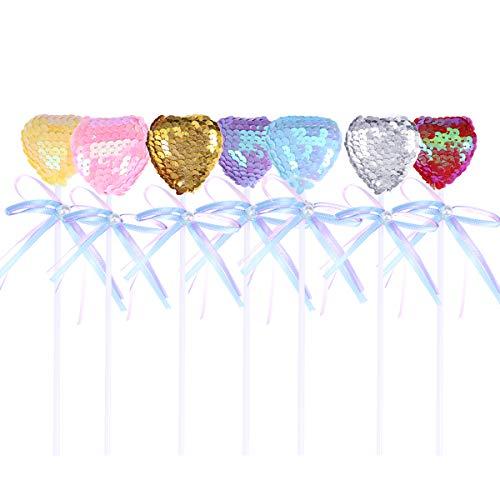 Amosfun Corazón pastel Topper lentejuelas Corazón Gemustert tartas frutas Picks postre mesa decorativo suministros 8 unidades