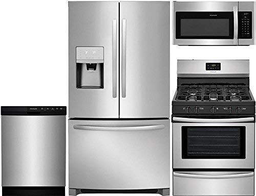 "Frigidaire 4-Pcs Stainless Steel Kit Package with FFHB2750TS 36""French Door fridge, FFGF3052TS 30""Freestanding Gas Range, FFBD2412SS 24"" Full Console D/W and FFMV1645TS 30"" Over-the-Range Microwave"