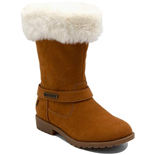 Nautica Girls Youth Warm Cold Weather Fashion Boots with Sherpa Fur Upper-Cosima Wheat-3