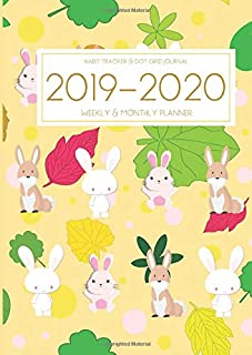 A4 Planner - 2019-2020 Planner Calendar - Rabbit Bunny 15 Months Daily Weekly Monthly Diary With Dot Grid Notebook & Habits Tracker: Inspirational ... Vision Board Journal From Oct 2019 - Dec 2020