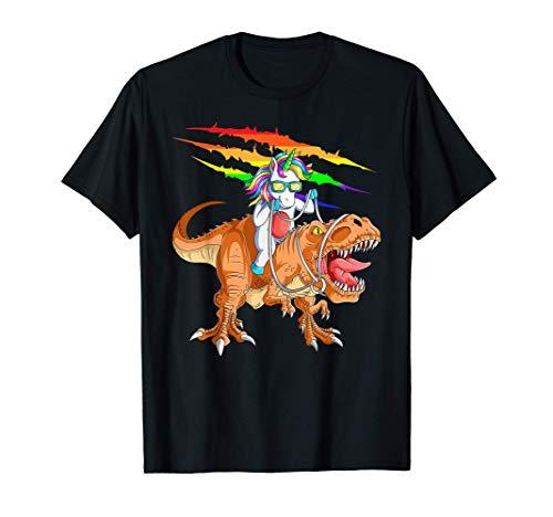 Unicorn Riding T-Rex Dinosaur For Kids Boys Girls Men Women T-Shirt
